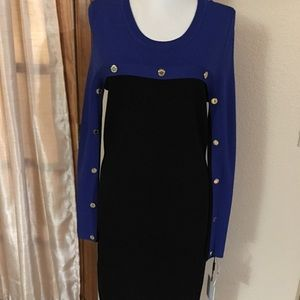 NWT Calvin Klein black and blue dress size M